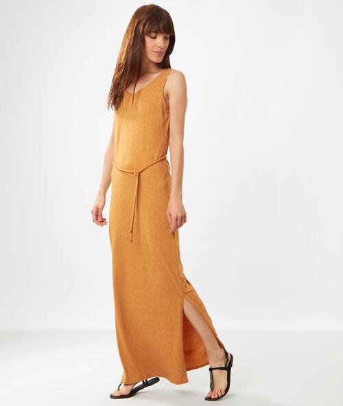 Robe longue en maille, lien taille