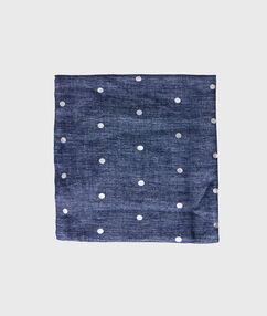 Foulard à pois bleu jean.