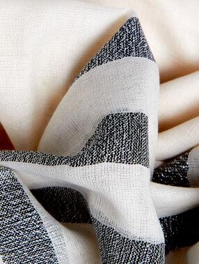 Foulard rayé blanc.