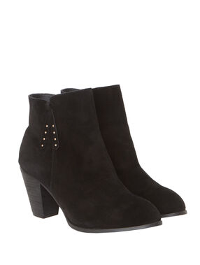 Heeled boots in split leather black.