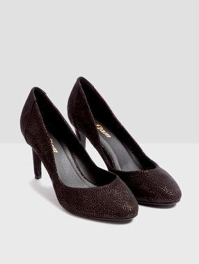 Heel court shoes glitter black.