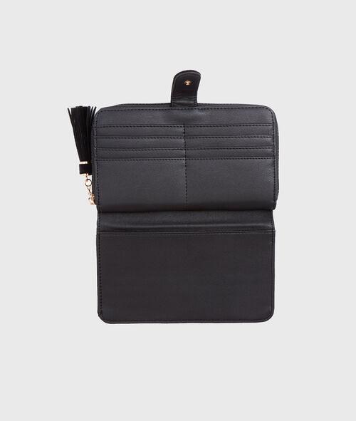 Portefeuille bi-matière, détail pompon