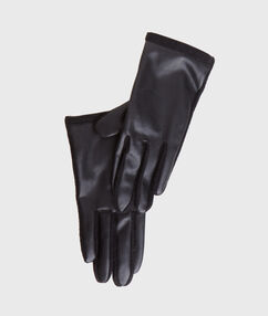 Faux leather and wool gloves black.