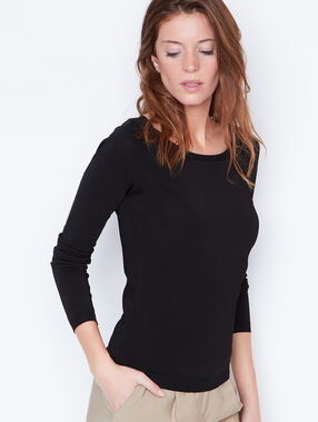 Fine sweater with lace back detail black.