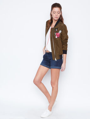 Embroidered bomber khaki.