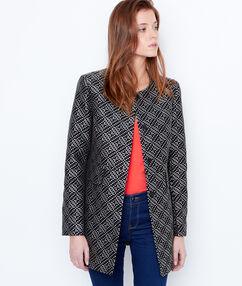 Graphic print coat black.