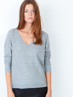Pull fin col v gris.