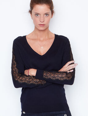 Lace long sleeves sweater navy.