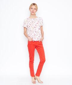 Pantalon slim corail.