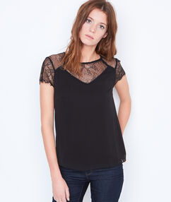Top with lace insert black.