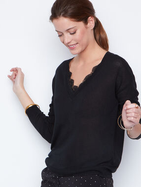 Lace long sleeves sweater black.