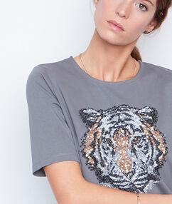 Camiseta estampado tigre caqui.