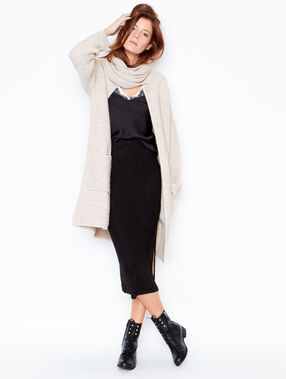 Long cardigan with shawl collar beige.