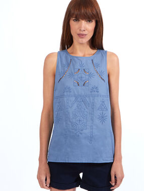 Top brodé chambray.
