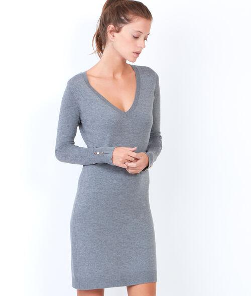 Jumper dress with V-neck