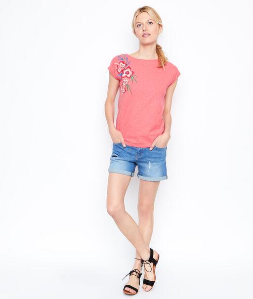 Short en jean avec empiècement strass