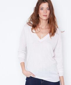 Jersey de algodón y cachemir escote en v c.beige.