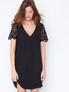 Lace detail dress with cut out back black.