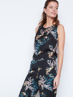 Tropical print jumpsuit black/green.