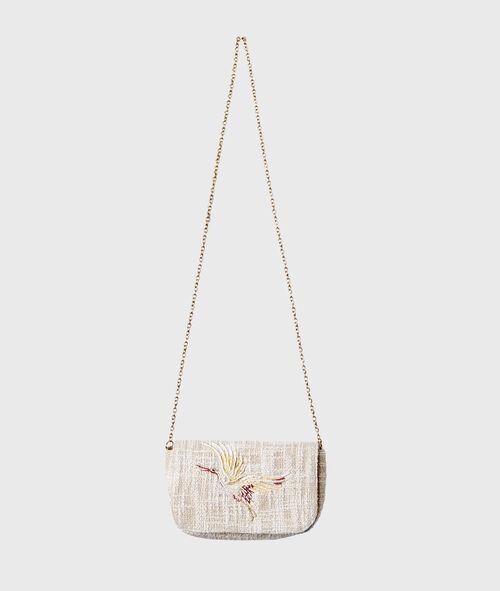 Petit sac tissu brodé et anse chaînette