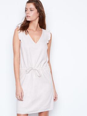 Linen dress nude.