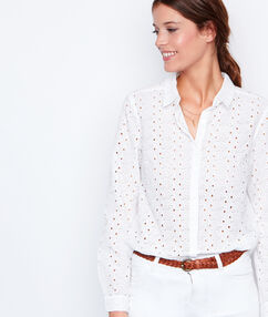 Chemise manches longues dentelle blanc.