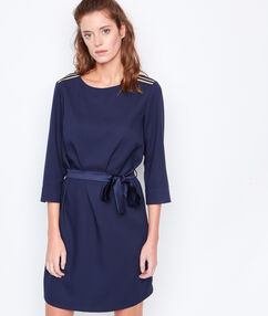 Belted 3/4 sleeves dress navy.