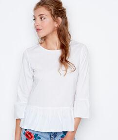 Chemise volante à manches amples blanc.