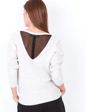 Pull fin avec dos en dentelle contrastée blanc.