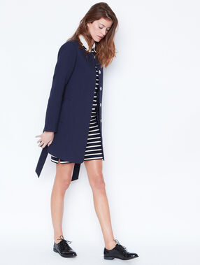 Belted round collar coat navy.