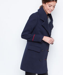 Manteau long officier bleu marine.
