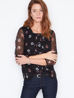 Sheer sleeve blouse with prints black.