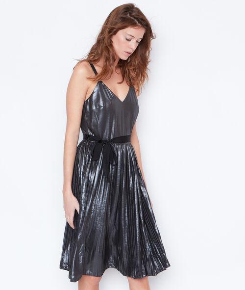 Metallic effect pleated dress