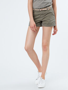 Cotton belted shorts khaki.