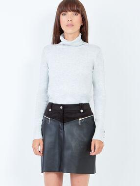 Jupe courte bi-matière à zips effet cuir noir.