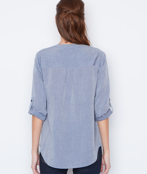 Chemise manches 3/4 col V