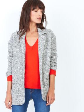 Veste tailleur en maille effet loose gris.