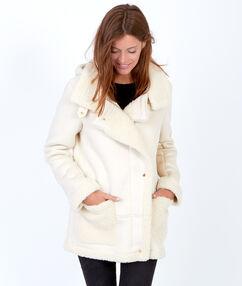 Manteau bi-matière, doublé mouton blanc.