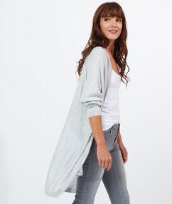 Gilet ample à poches gris chiné clair.
