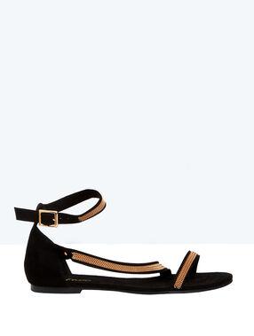 Sandales plates en suédine, détails chaînes noir.