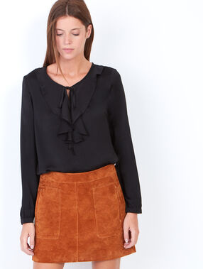 Blouse with ruffle collar schwarz.