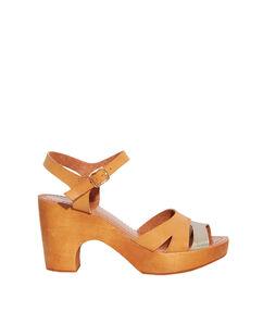 Sandales clog semelles en bois naturel/argente.