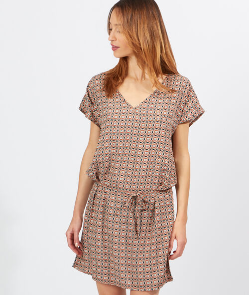 Robe blouse imprimée, lien taille