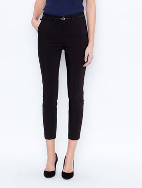 Belted cigarette trousers black.