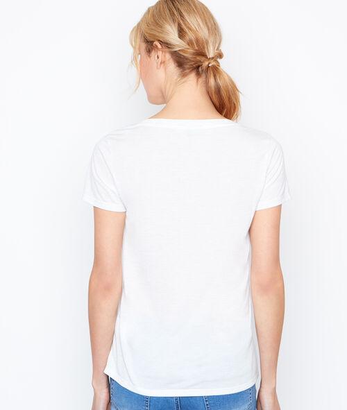 T-shirt col V effet métallisé