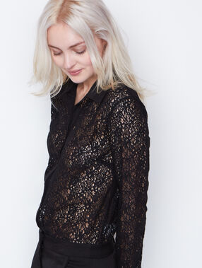 Lace shirt noir.