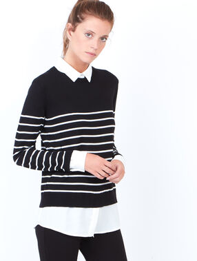 Striped sweater with round collar black.