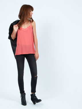 Bow back top corail.