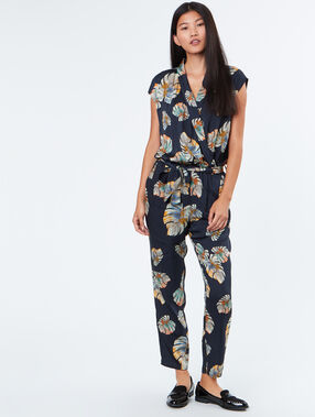 Tropical print jumpsuit navy.