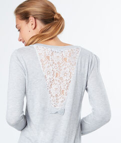Pull dos dentelle gris chine clair.